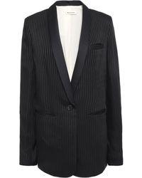 MASSCOB Alvy Striped Satin-jacquard Blazer Black