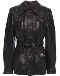 3.1 Phillip Lim - Belted Leather Jacket Black - Lyst