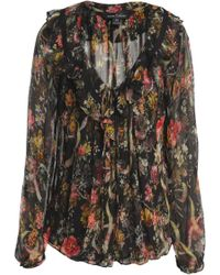 Needle & Thread - Floral-print Ruffled Crepon Blouse - Lyst