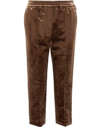 Brunello Cucinelli - Cropped Cotton-blend Crushed-velvet Straight-leg Pants - Lyst