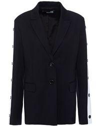 Love Moschino Snap-detailed Two-tone Cotton-blend Jersey Blazer - Black