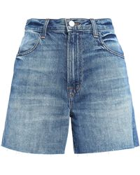 J Brand - Joan Faded Denim Shorts Mid Denim - Lyst