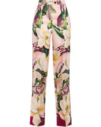 F.R.S For Restless Sleepers - Zelos Floral-print Silk-twill Straight-leg Pants Blush - Lyst