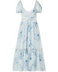 LoveShackFancy Angie Gathered Floral-print Silk-georgette Maxi Dress Light Blue