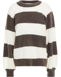 Gestuz Striped Knitted Jumper - White