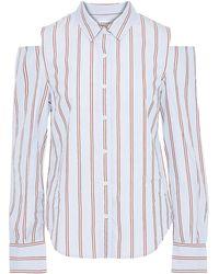 FRAME Cold-shoulder Striped Cotton-poplin Shirt Sky Blue