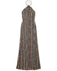 Missoni Metallic Crochet-knit Halterneck Maxi Dress Navy - Blue