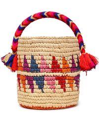 Yosuzi Nini Tasseled Woven Straw Bucket Bag Multicolor