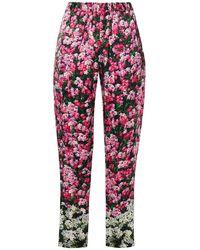 Mary Katrantzou Cropped Floral-print Satin Slim-leg Trousers - Multicolour