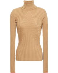 Victoria Beckham Ribbed Wool Turtleneck Jumper - Natural