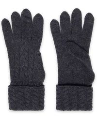 N.Peal Cashmere Cable-knit Cashmere Gloves Charcoal - Gray