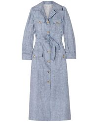 Giuliva Heritage Collection Mary Angel Belted Linen Midi Dress Storm Blue