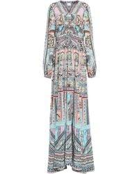 Camilla Embellished Printed Silk Crepe De Chine Maxi Dress Pastel Pink