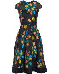 Lela Rose - Grosgrain-trimmed Embroidered Cloqué Dress - Lyst