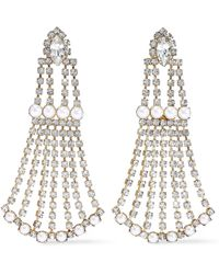 Elizabeth Cole - Woman 24-karat Gold-plated, Crystal And Faux Pearl Earrings White - Lyst