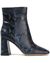 Sam Edelman Codie Snake-effect Leather Ankle Boots Storm Blue