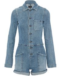 RTA - Frayed Faded Stretch-denim Playsuit Mid Denim - Lyst
