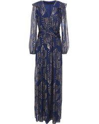 Rachel Zoe Ruffled Metallic Fil Coupé Chiffon Gown Royal Blue