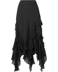 Michael Kors Asymmetric Ruffled Silk-georgette Skirt - Black