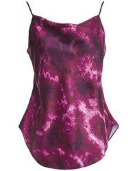 Cinq À Sept Marta Draped Tie-dyed Satin-twill Camisole Purple