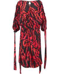Ellery - Kabukimono Cold-shoulder Ruched Printed Silk-blend Midi Dress - Lyst