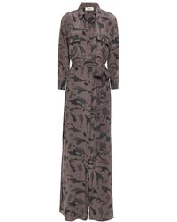 L'Agence Cameron Belted Printed Silk Crepe De Chine Maxi Dress Taupe - Multicolor