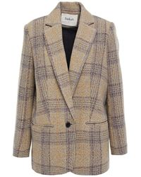 Ba&sh Leto Checked Wool-tweed Blazer Mushroom - Multicolour