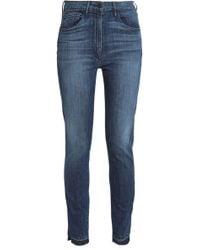 3x1 - Woman Faded Mid-rise Skinny Jeans Dark Denim - Lyst