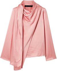 Sally Lapointe Draped Satin-crepe Top Baby Pink