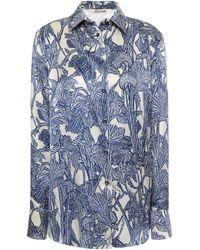 Roberto Cavalli Printed Silk-satin Shirt - Blue