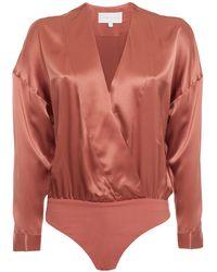 Michelle Mason Wrap-effect Printed Silk Crepe De Chine Bodysuit Tan - Red