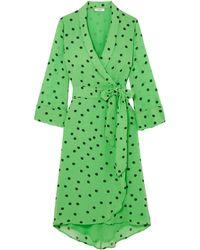 Ganni Polka-dot Georgette Wrap Dress Bright Green
