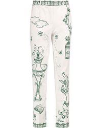 Dolce & Gabbana - Printed Cotton-blend Twill Straight-leg Pants - Lyst