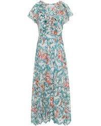 Antik Batik Shiffly Ruffled Floral-print Broderie Anglaise Cotton Midi Dress Teal - Blue