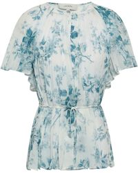 Lover - Woman Pleated Floral-print Georgette Top White - Lyst