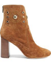 Sigerson Morrison Sheyla Embellished Suede Ankle Boots - Brown