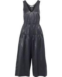 Tibi Cropped Ruched Coated-shell Wide-leg Jumpsuit - Black
