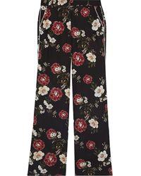 Nicholas Floral-print Silk Crepe De Chine Wide-leg Trousers - Black
