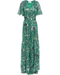 Ba&sh Jessy Printed Metallic Fil Coupé Silk-blend Maxi Dress Jade - Green