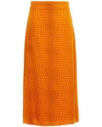 Gestuz Printed Satin-twill Midi Skirt - Orange