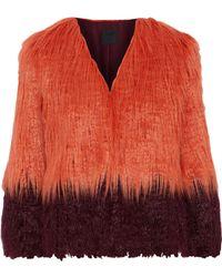 Anna Sui Two-tone Faux Fur Jacket Papaya - Multicolour