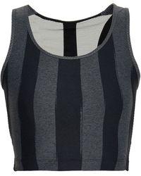 Sàpopa Sàpopa Martina Cutout Mesh-paneled Striped Stretch Sports Bra - Grey