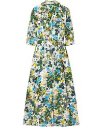 Erdem Kasia Floral-print Cotton-poplin Midi Shirt Dress Leaf Green