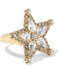 Elizabeth Cole 24-karat -plated Swarovski Crystal Ring - Metallic