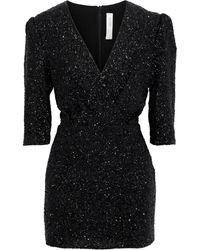 IRO Justify Wrap-effect Sequined Crepe Mini Dress - Black