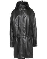 Helmut Lang - Faux Fur-trimmed Leather Coat - Lyst