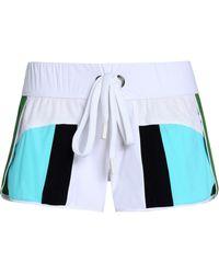 NO KA 'OI Honi Mesh-paneled Color-block Scuba Shorts - White