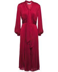 Equipment Macin Tie-neck Pleated Washed-satin Midi Dress Crimson - Red