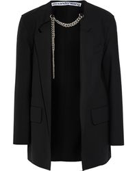 Alexander Wang Chain-embellished Stretch-wool Blazer Black