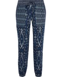 Soft Joie Xolani Cropped Printed Poplin Tapered Trousers Navy